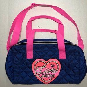 Justice Duffel Bag, Blue/Pink, EUC
